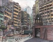 Times Square at Causeway Bay, Hong Kong; mixed media on bristol